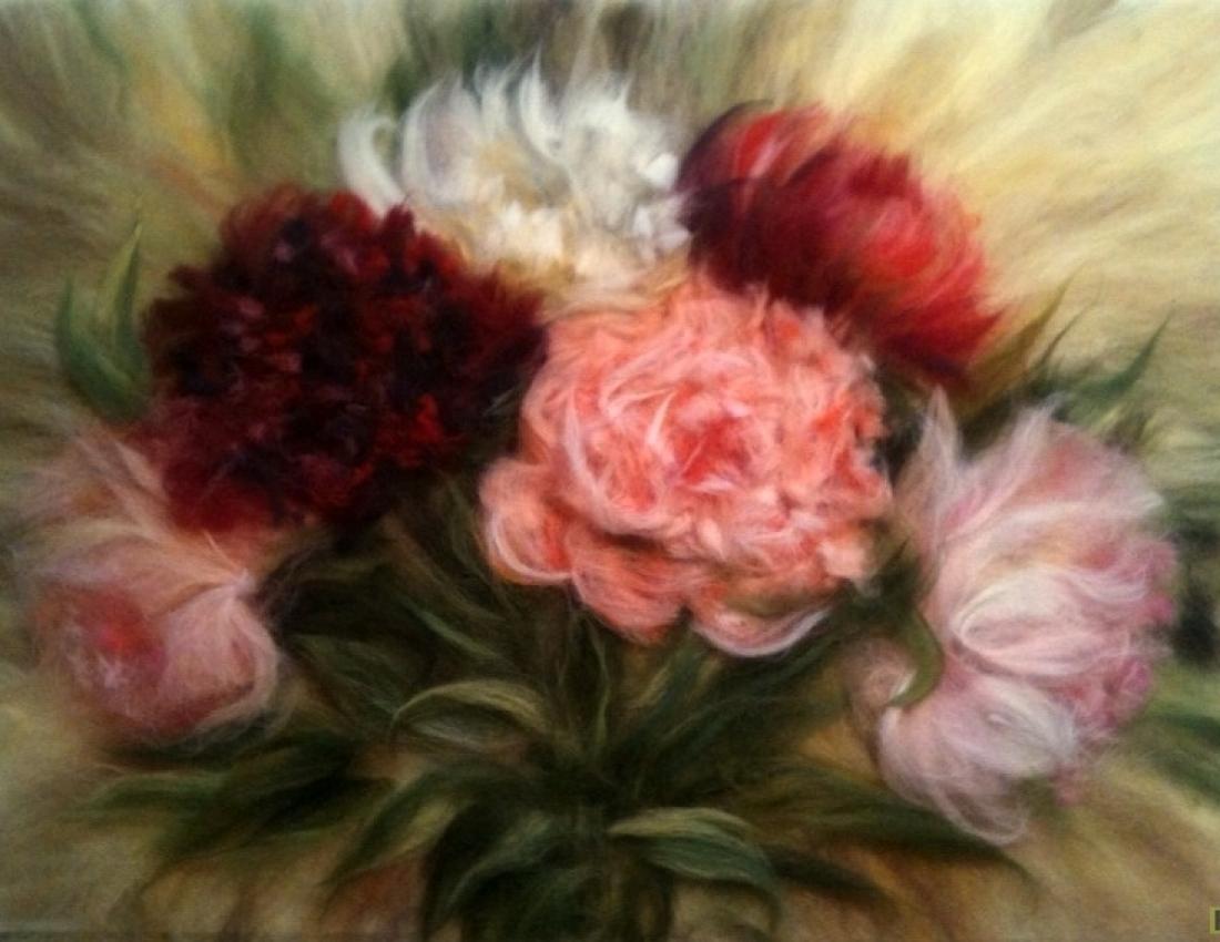 Я рисую цветы шерстью 37