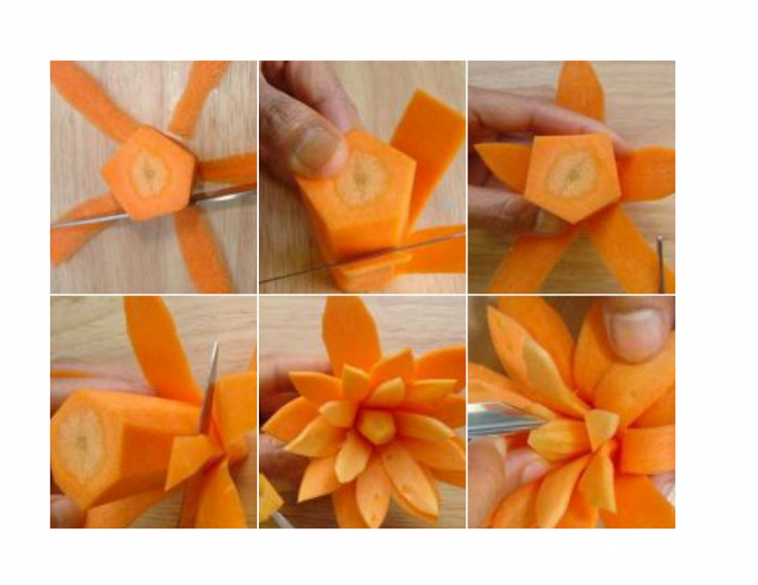 Сделать цветы из моркови своими руками 95
