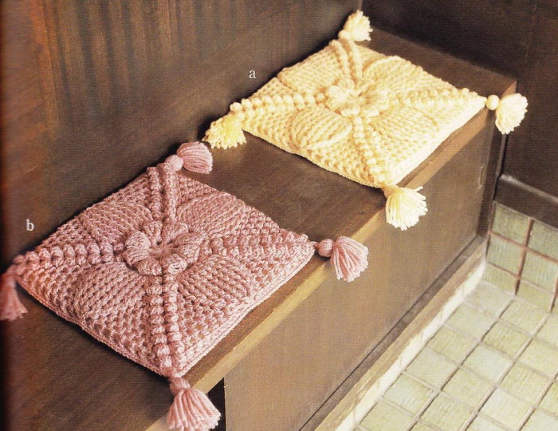 Декоративные сидушки для стула крючком. Схемы Knit crochet 6