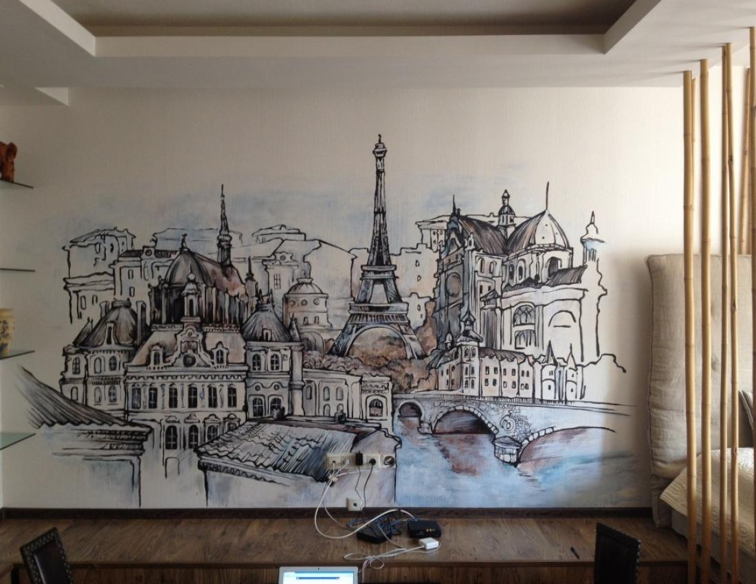 Художественная роспись стен в интерьере фото